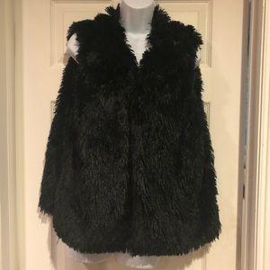 Macy's INC black faux fur vest
